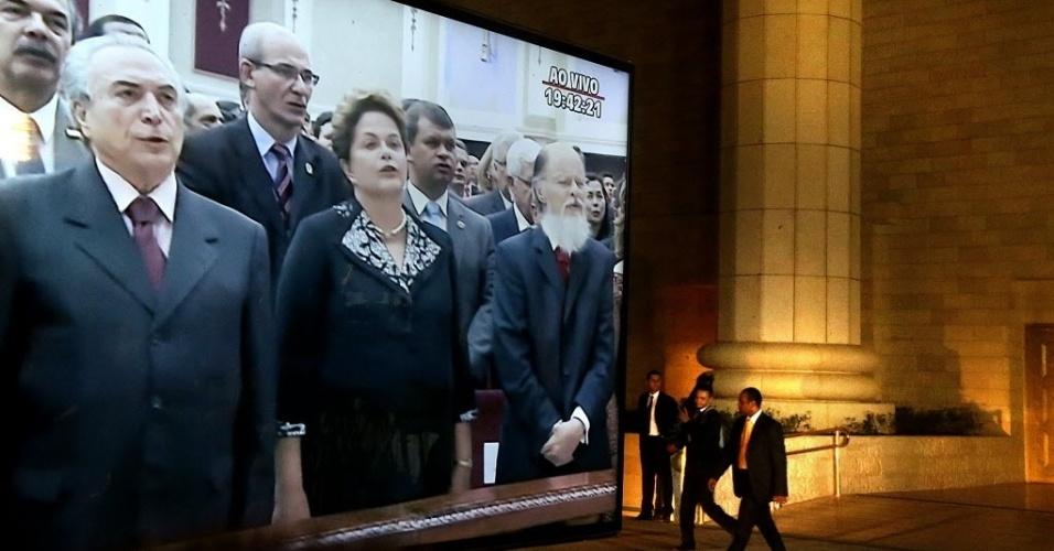 31.jul.2014 - A presidente Dilma Rousseff, o vice Michel Temer e o pastor Edir Macedo participam de cerimônia de inauguração do Templo de Salomão, da Igreja Universal do Reino de Deus, no Brás. Não foi permitida a entrada da imprensa no templo