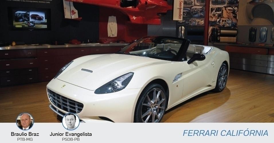 A luxuosa Ferrari Califórnia é o carro dos candidatos a deputado estadual Braulio Braz (PTB-MG) e Júnior Evangelista (PSDB-PB)