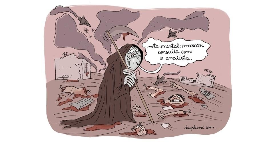 4.ago.2014 - A chargista Chiquinha retrata a Morte 'esgotada' após tantas tragédias no mundo