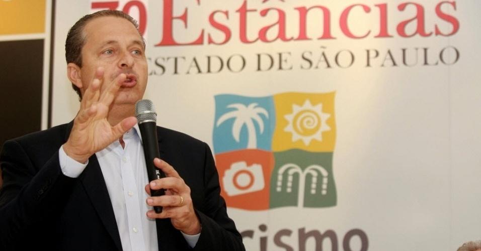 2.ago.2014 - Eduardo Campos, candidato ao governo federal pelo PSB, participa de encontro de prefeitos na cidade de Brotas (246 km a noroeste de São Paulo), neste sábado