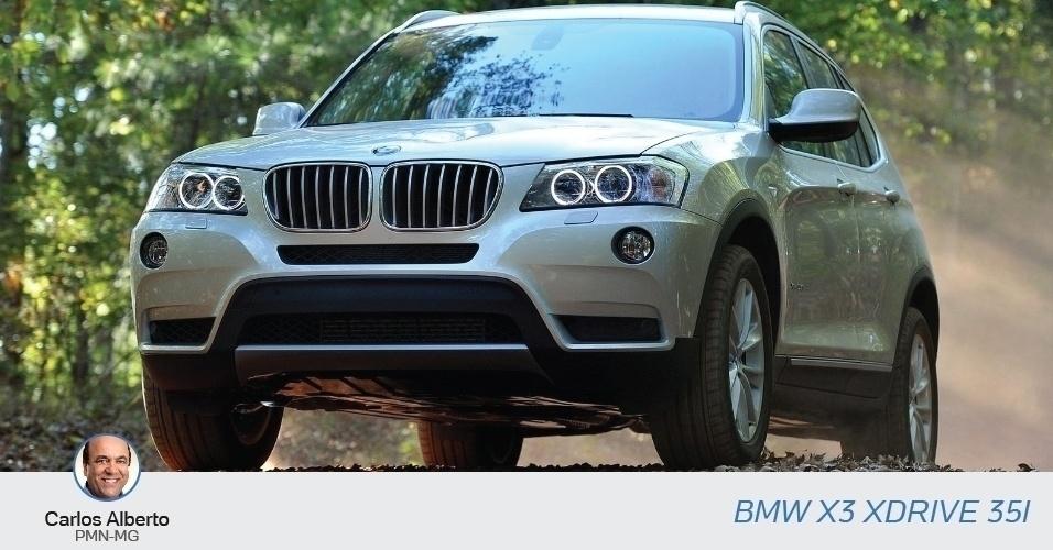 Carlos Alberto (PMN-MG) declarou à Justiça Eleitoral uma BMW X3 XDRIVE 35i, no valor de R$ 269 mil