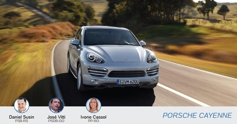 Ivone Cassol (PP-RO), Daniel Susin (PSB-RS) e José Vitti (PSDB-GO) tem um Porsche Cayenne, avaliados entre R$ 299 mil e R$ 379 mil