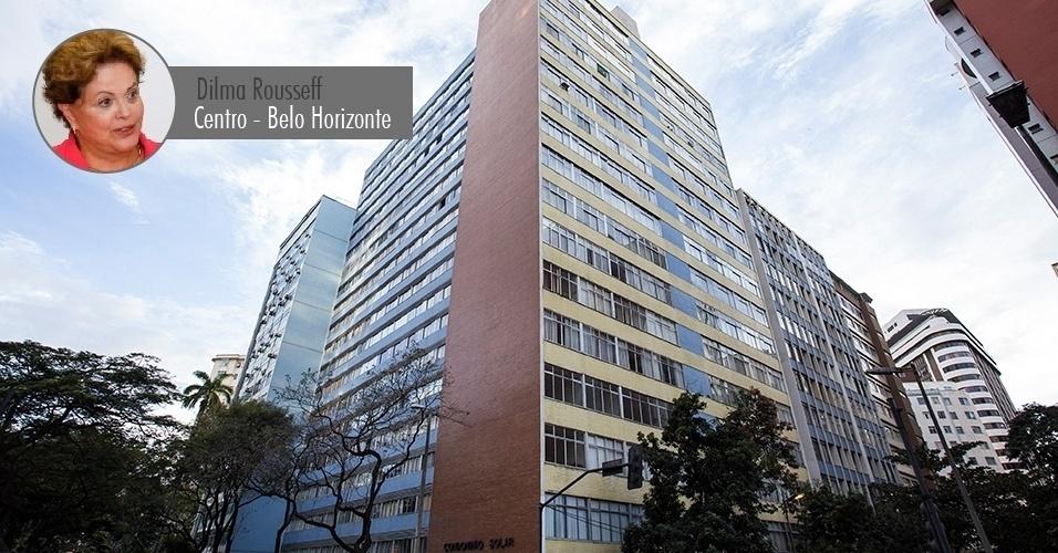 06.ago.2014 - Fachada do prédio onde a presidente e candidata à reeleição, Dilma Rousseff (PT), possui um apartamento, no centro de Belo Horizonte, com valor declarado de R$ 119 mil. Dilma tem mais cinco imóveis em Porto Alegre (o valor informado à Receita não está corrigido, por isso é inferior ao valor comercial atual)