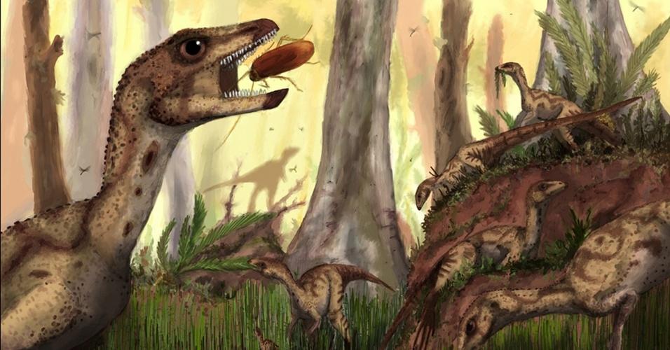 5.ago.2014 - Ilustração mostra o Laquintasaura venezuelae: o ancestral de dinossauros como o Tricerátopo era uma criatura similar às aves, dizem pesquisadores