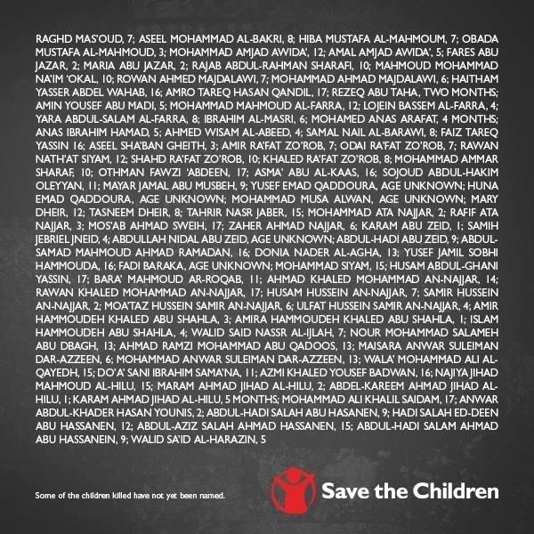 """6.ago.2014 - Com o título """"Em memória das 373 crianças mortas em Gaza"""", em referência ao número divulgado pela ONU de crianças mortas entre 8 de julho e 3 de agosto, uma página de publicidade paga pela ONG Save The Children foi publicada nos jornais britânicos """"Guardian"""", """"Times"""", """"Daily Telegraph"""" e """"Independent"""""""