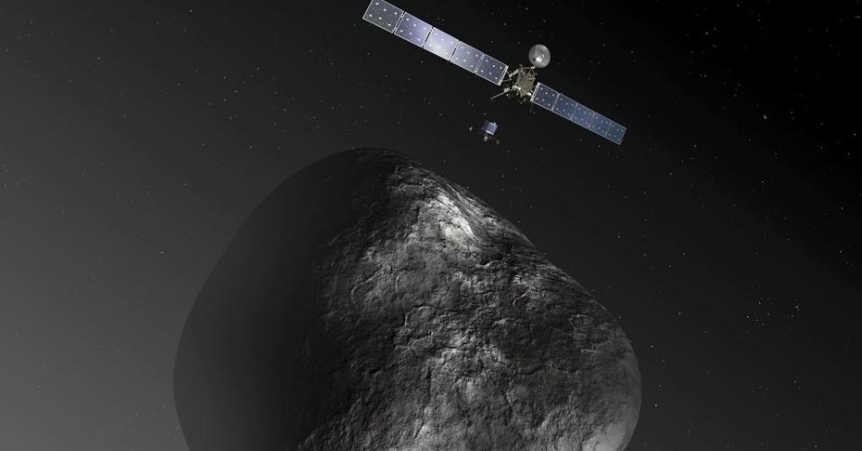6.ago.2014 - Concepção artística mostra a sonda europeia Rosetta entrando na órbita do cometa 67P/ Churyumov-Gerasimenko. A nave se aproximou para investigar a estrutura e composição do astro. Uma das teorias sobre o início da vida na Terra postula que os primeiros ingredientes da chamada