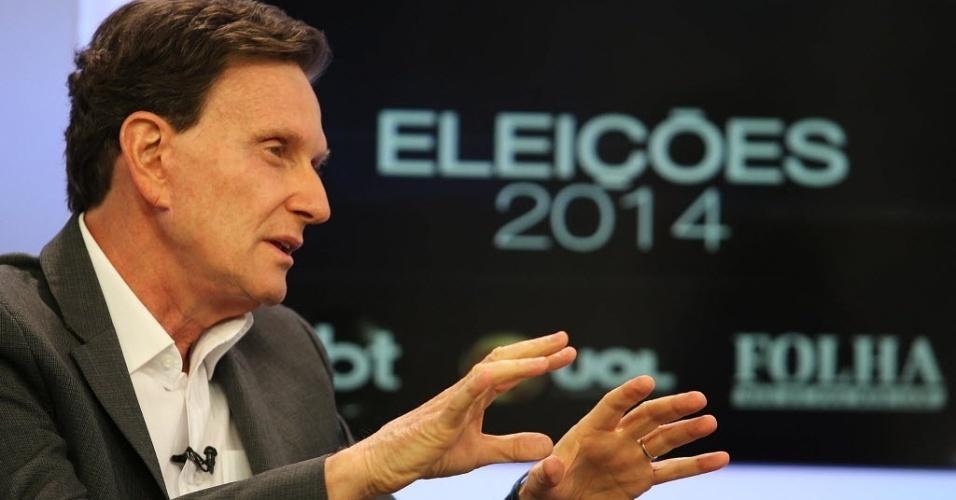 7.ago.2014 - O candidato ao governo do Rio de Janeiro pelo PRB, Marcelo Crivella, negou ser homofóbico durante sabatina promovida por UOL,