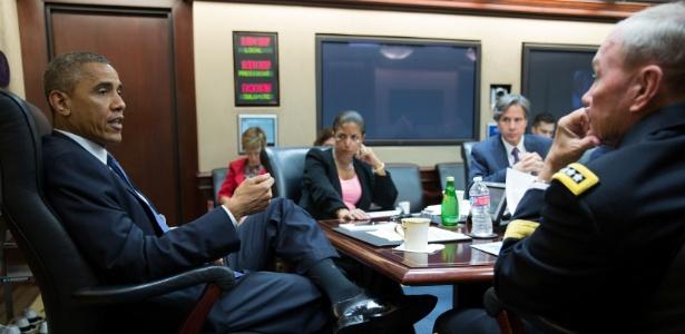 O presidente se reuniu com assessores de segurança nacional na Casa Branca - Pete Souza/Casa Branca