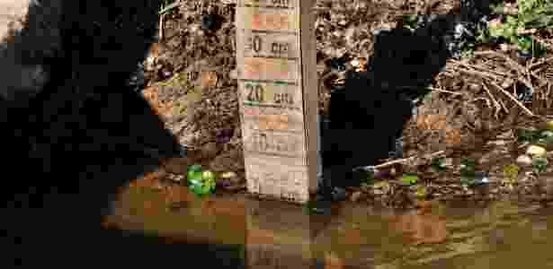 Régua que mede o nível da água no reservatório do Itaim, na região de Itu (SP), indicava 0 cm em 8 de agosto de 2014 - Hélio Suenaga/Futura Press/Estadão Conteúdo