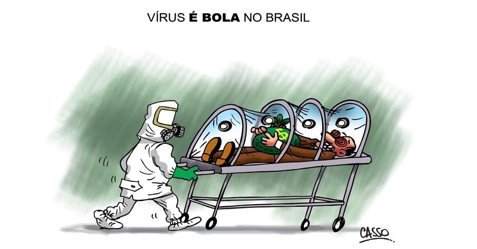 12.ago.2014 - O chargista Casso cria uma versão diferente do vírus ebola no Brasil