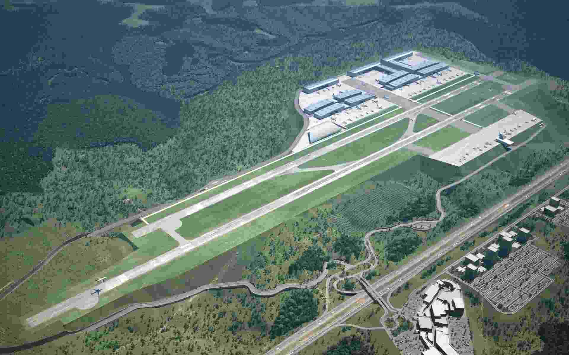 Projeto do Aeroporto Executivo Catarina, em São Roque (SP). O empreendimento está sendo construído pela JHSF - Divulgação