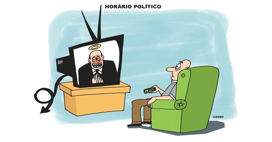 18.ago.2014 - O chargista Casso brinca com o início do horário eleitoral gratuito no rádio e na TV