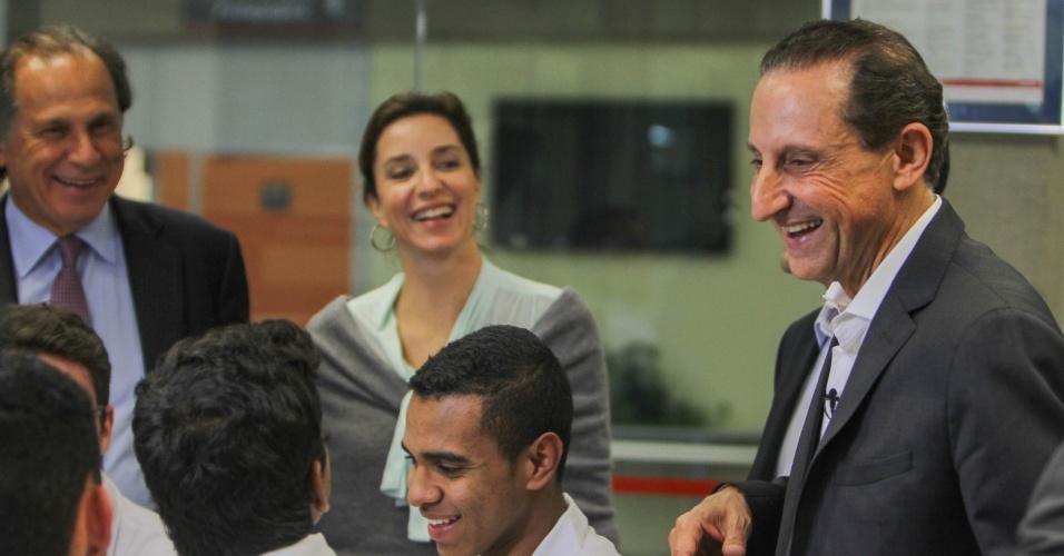 18.ago.2014 - O candidato ao governo de São Paulo, Paulo Skaf (PMDB), visita o Senai (Servico Nacional de Aprendizagem Industrial) em Santo Amaro
