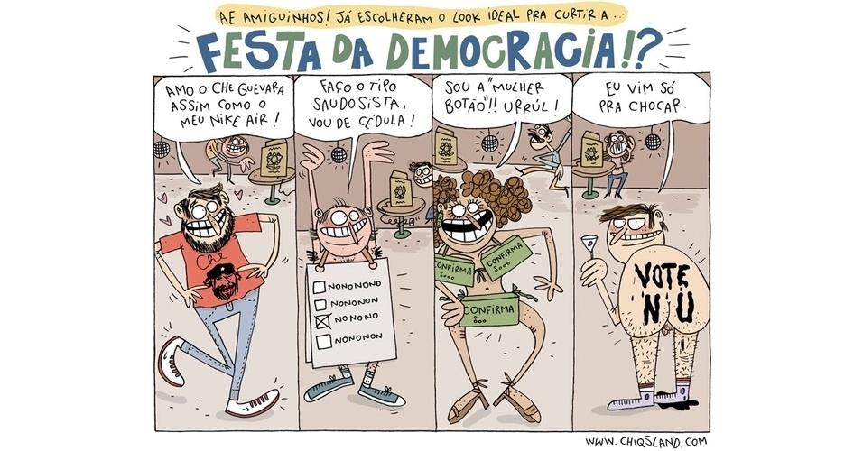 """19.ago.2014 - A chargista Chiquinha brinca com os diferentes """"tipos"""" de eleitores"""