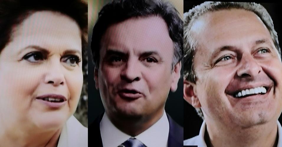 """19.ago.2014 - Na estreia do horário eleitoral na TV, o PT mostrou imagens da presidente Dilma Rousseff cozinhando e cuidando do jardim, enquanto que Aécio Neves (PSDB) criticou """"os últimos quatro anos de governo"""", mas poupou o ex-presidente Luiz Inácio Lula da Silva. O ex-candidato do PSB à presidência, morto com seis outras pessoas em uma acidente aéreo, foi homenageado durante o programa da legenda. Foram exibidas imagens de arquivo do ex-governador do Pernambuco vistoriando obras no Estado e ao lado da família. No final, uma montagem com fotos de todos os mortos no acidente foi exibida"""