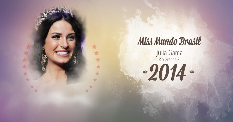 A gaúcha Julia Gama representou o Rio Grande do Sul e venceu o Miss Mundo Brasil 2014, realizado em Florianópolis