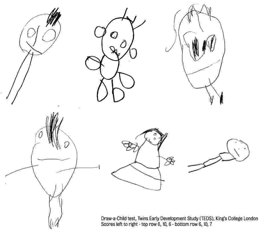 20.ago.2014 - A maneira como as crianças desenham aos 4 anos de idade pode ser um indicador de como será a sua inteligência no futuro, concluiu um estudo da universidade britânica King's College - Twins Early Development Study, King?s College London/Divulgação