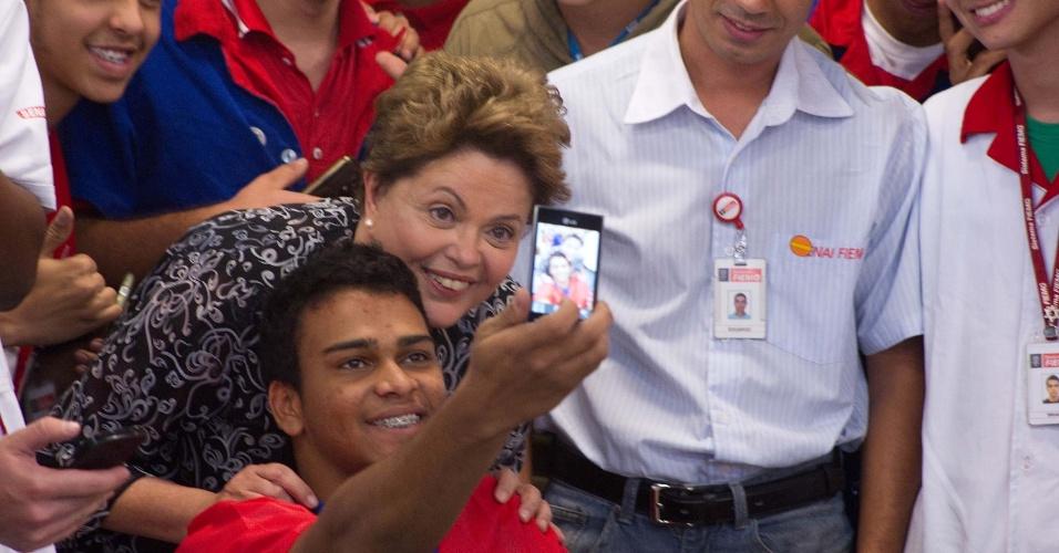 20.ago.2014 - A presidente Dilma Rousseff visita o Senai/Horto, em Belo Horizonte. A candidata à reeleição pelo PT também grava imagens para seu programa eleitoral na escola, nesta quarta-feira