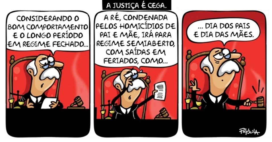 21.ago.2014 - A chargista Pryscila ironiza a decisão da Justiça de São Paulo que autorizou Suzane Richthofen, 30, a cumprir o restante de sua pena em regime semiaberto
