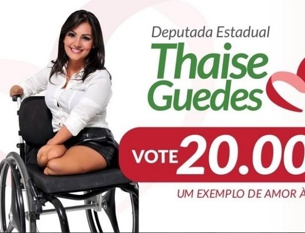 Thaise Guedes (PSC-AL) é candidata à reeleição para a Assembleia Legislativa de Alagoas. Ela teve parte dos membros amputados em virtude de uma meningite, o que não a impediu de seguir carreira de modelo