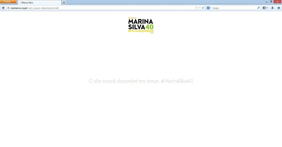 21.ago.2014 - O site oficial da campanha de Eduardo Campos e Marina Silva agora reencaminha o internauta para outro site, o http://marinasilva.org.br. O novo site, ainda em construção, exibe o nome de Marina em cima do nome do novo vice, Beto Albuquerque (PSB-RS), e a mensagem: O site estará disponível em breve. #MarinaSilva40