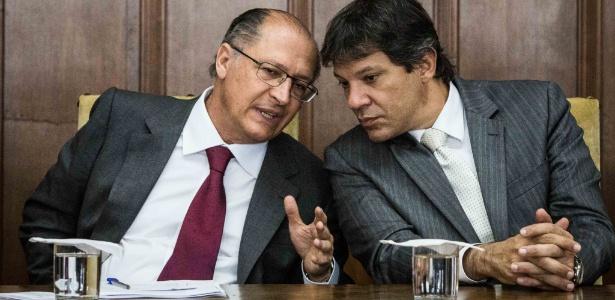 Geraldo Alckmin (PSDB), à esquerda, e o rival político Fernando Haddad (PT)