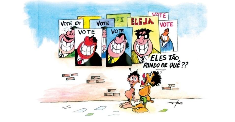 25.ago.2014 - O chargista Fred ironiza as campanhas eleitorais