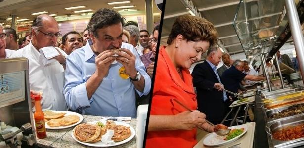 Aécio Neves come uma coxinha e Dilma Rousseff se serve em um bandejão: tática para demonstrar simplicidade