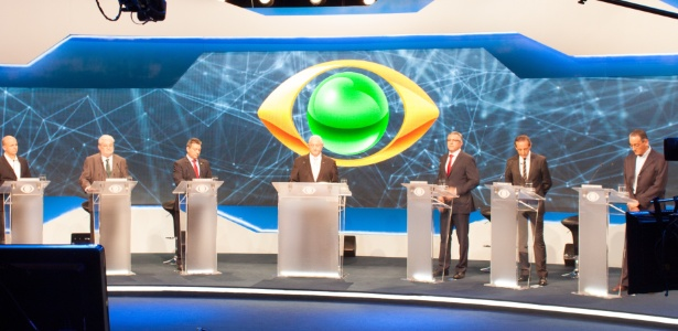 Candidatos participam do primeiro debate da disputa eleitoral pelo governo do Estado de São Paulo, nos estúdios da Band, na zona sul da capital paulista