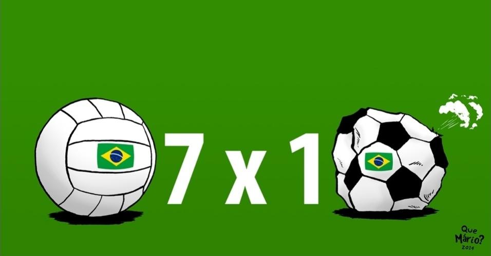 26.ago.2014 - O chargista Que Mário? brinca com a conquista do Grand Prix da seleção brasileira feminina de vôlei