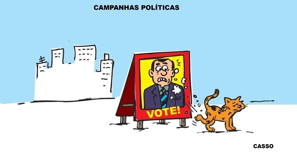 27.ago.2014 - O chargista Casso brinca com as campanhas políticas