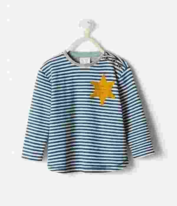 27.ago.2014 - Pijama infantil da Zara foi retirado do catálogo após queixas sobre semelhanças com uniforme usado por judeus em campos de concentração, durante a Segunda Guerra Mundial - Reprodução/Twitter