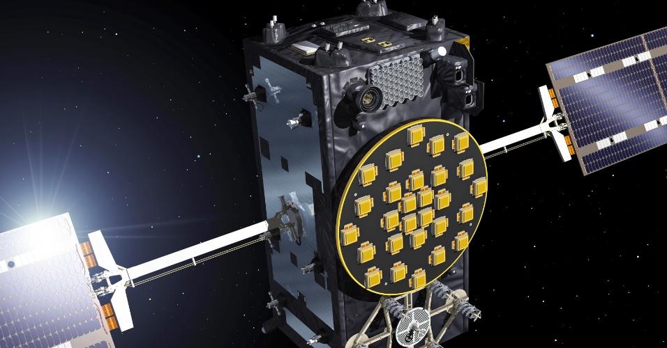 27.ago.2014 - SATÉLITES NA ÓRBITA ERRADA - Engenheiros da ESA (Agência Espacial Europeia) trabalham para recuperar os dois primeiros satélites em operação do sistema de navegação Galileu, que foram posicionados em uma órbita errada durante seu lançamento na sexta-feira (22). Fontes da ESA relataram nesta quarta-feira (27) que esse
