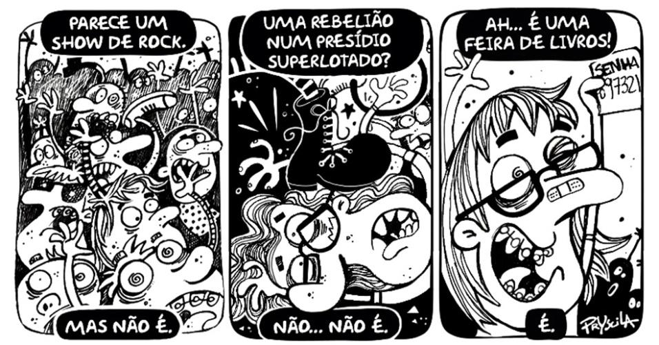 """28.ago.2014 - A cartunista Pryscila brinca com a declaração da organização da 23ª Bienal Internacional do Livro de São Paulo diante do tumulto durante o evento: """"Não imaginávamos que haveriam tantos jovens ainda interessados por livro. Isso não é um show de rock"""""""
