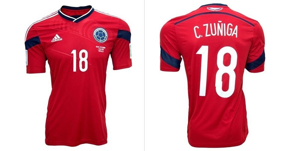 Camisa da seleção Colômbia usada pelo jogador Zuñiga é leiloada no site  Bazar Sports 8b469bf6ae97e