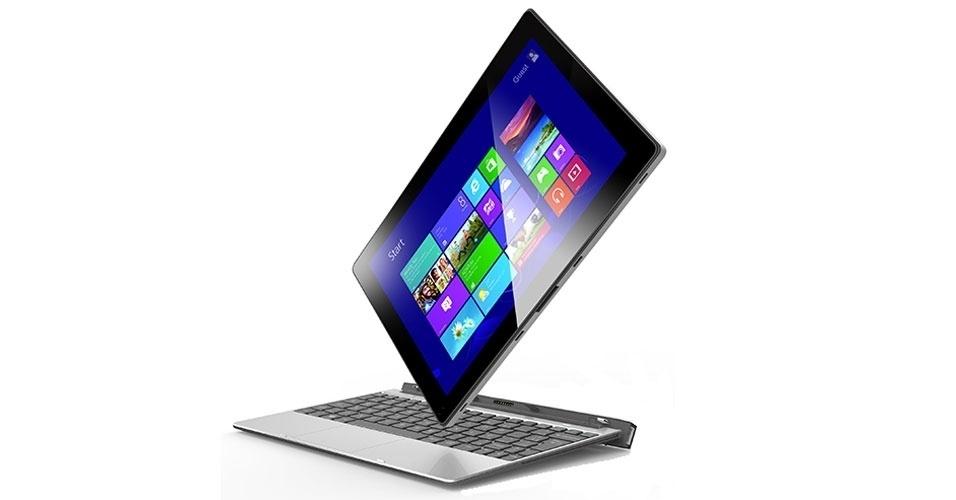 28.ago.2014 - A Positivo estreia no ramo de computadores híbridos com Duo ZX 3000. O aparelho, que funciona como tablet e laptop, tem tela de 10,1 polegadas, processador Intel Atom Z3735G quad-core (de quatro núcleos), duas câmeras (sendo uma traseira de 2 megapixels e uma frontal de qualidade VGA) e sistema operacional Windows 8.1. O computador conta com uma memória de 16 GB, conexão via Wi-Fi e Bluetooth. Ele vem ainda com uma porta USB e outra micro-HDMI. Preço sugerido: R$ 999