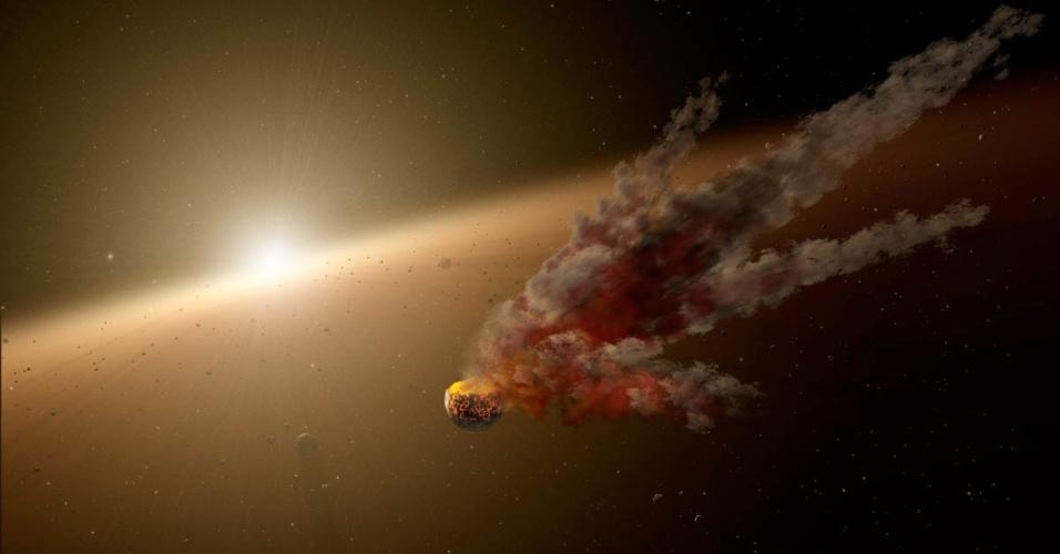 28.ago.2014 - O telescópio espacial Splitzer da Nasa registrou uma erupção de poeira em volta de uma estrela jovem, possivelmente resultante da colisão entre grandes asteroides. Esse tipo de impacto pode eventualmente liderar a formação de planetas