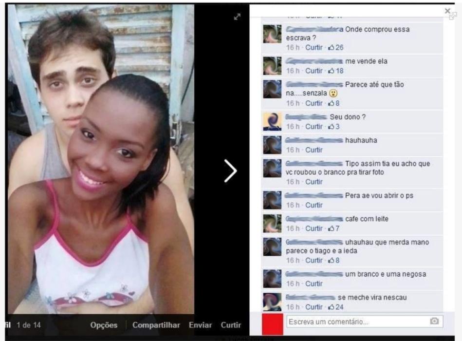 Após postar foto no Facebook, jovem de Muriaé, em Minas Gerais, sofreu ataques racistas em comentários