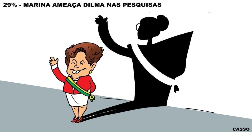 1º.set.2014 - O chargista Casso retrata a alta da ex-senadora Marina Silva (PSB) na disputa presidencial registrada na pesquisa Ibope divulgada na terça-feira (26)