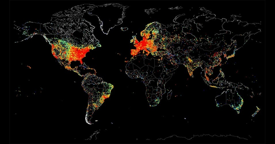 29.ago.2014 - O Shodan, um mecanismo de busca de dispositivos conectados à internet, divulgou um mapa as áreas onde há mais aparelhos conectados. Segundo John Matherly, fundador do Shodan,  os dados foram coletados no dia 2 de agosto