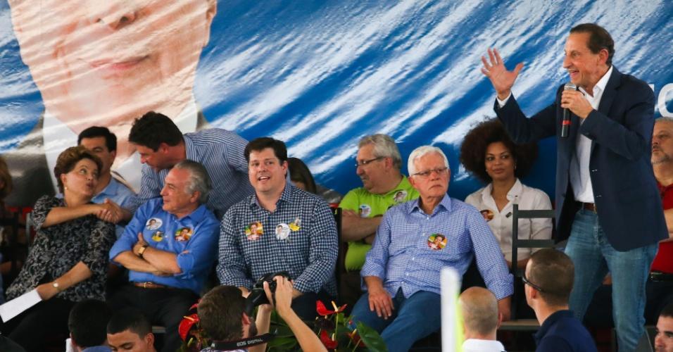 30.ago.2014 - Paulo Skaf e Dilma Rousseff participam de evento na cidade de Jales, interior de São Paulo, neste sábado (30)