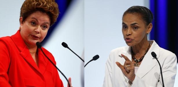 Dilma Rousseff (PT) e Marina Silva (PSB) durante o debate entre presidenciáveis: segundo especialistas, Dilma tem postura arrogante, enquanto os pontos fracos de Marina são os gestos e a voz