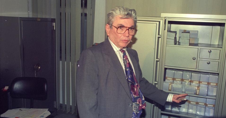 Nevaldo Rocha, pai de Flávio Rocha, que foi tirado da candidatura à Presidência da República de 1994 após denúncias de corrupção, posa para foto na empresa Guararapes