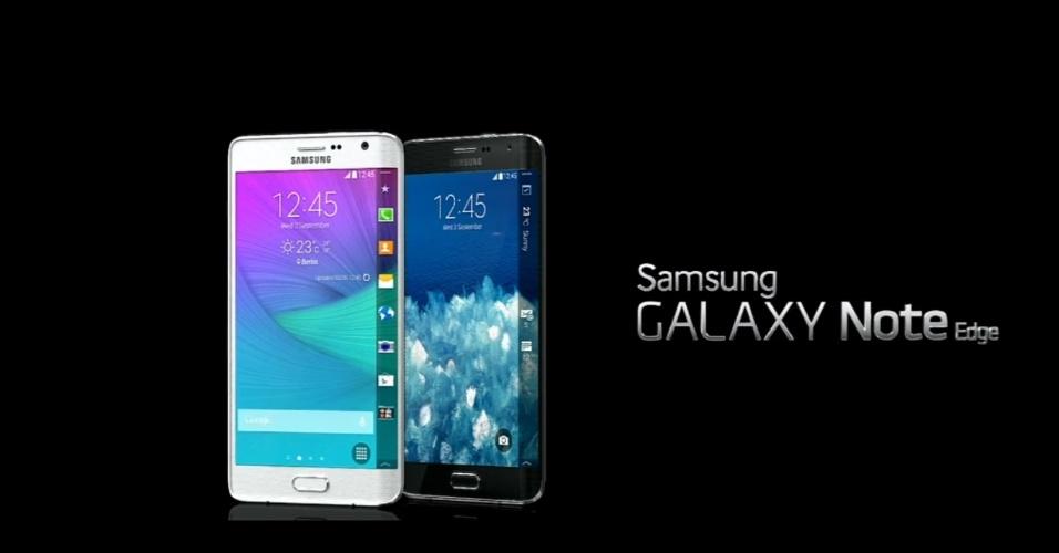 03.set.2014 - 'Primo' do Galaxy Note 4, o Galaxy Note Edge é uma das novidades lançadas pela Samsung nesta quarta-feira (03). O phablet conta com uma tela de 5,6 polegadas e se destaca por ter uma tela curva. A curvatura na tela pode ser utilizada como uma 'faixa' de notificações de mensagens ou como atalho para aplicativos. O aparelho conta com uma caneta 'stillus' e pode ter capacidade de armazenamento de 32 GB ou 64 GB