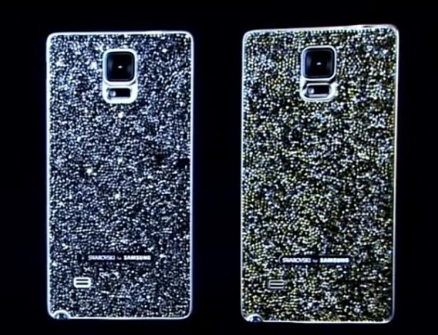 03.set.2014 - Samsung faz parceria com a grife de luxo Svarovski e lançou uma capa para o Galaxy Note repleta de cristais. Lançamento do novo Galaxy Note 4, da Samsung. Aparelho chega ao mercado com tela Super Amoled, 5,7 polegadas, 176 gramas e 8,5 milímetros de espessura. Galaxy Note 4 conta com modo específico de fotos para selfies, que pode capturar pessoas em um ângulo de 120 graus