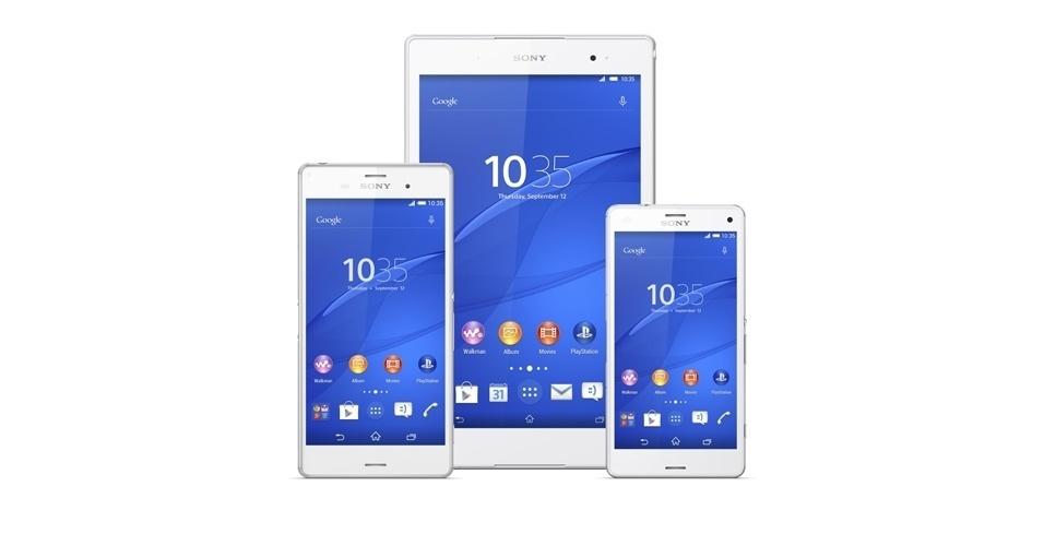 3.set.2014 - A Sony apresentou a linha Xperia Z3, composta por dois smartphones e um tablet. O smartphone Xperia Z3 (esq.) tem tela de 5,2 polegadas, enquanto o Z3 Compact (dir.) possui uma de 4,6 polegadas. O tablet Z3 Compact, por sua vez, vem com display de 8 polegadas. Todos usam processador quad-core e funcionam como tela remota do console PS4. As novidades chegam ao mercado em novembro