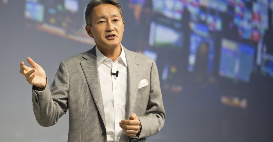 3.set.2014 - O presidente-executivo da Sony, Kazuo Hirai, participa de apresentação da nova linha de portáteis Z3, que traz dois modelos de smartphone e um tablet