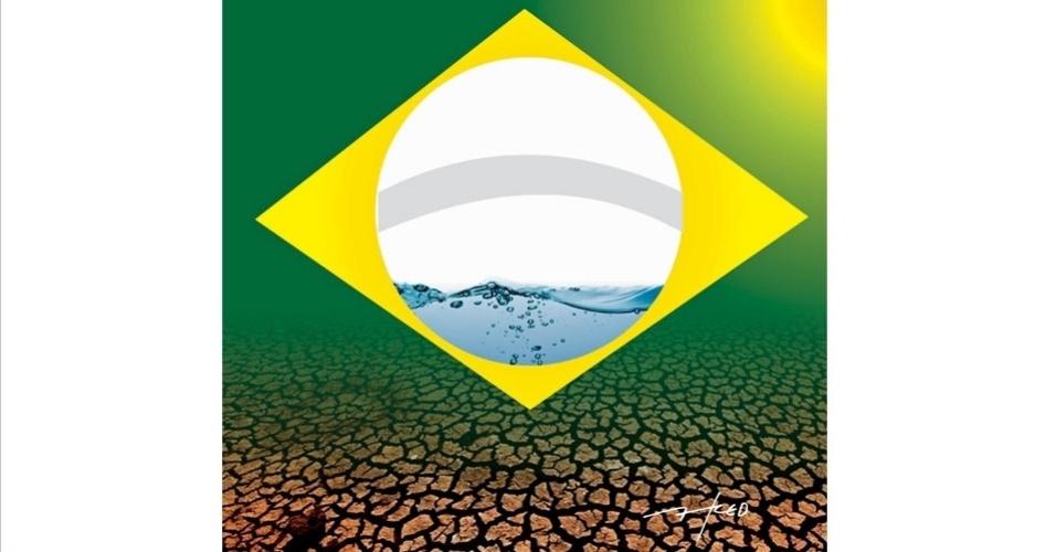 5.set.2014 - O chargista Fred brinca com os significados das cores bandeira do Brasil e a falta de água que acomete algumas regiões do país