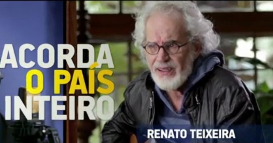 5.set.2014 - O cantor Renato Teixeira apareceu no programa eleitoral de Aécio na TV para apoiar o candidato tucano