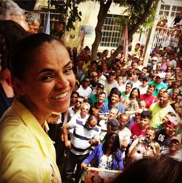 6.set.2014 - A candidata à Presidência pelo PSB, Marina Silva, participa de evento de campanha em Brumado, na Bahia
